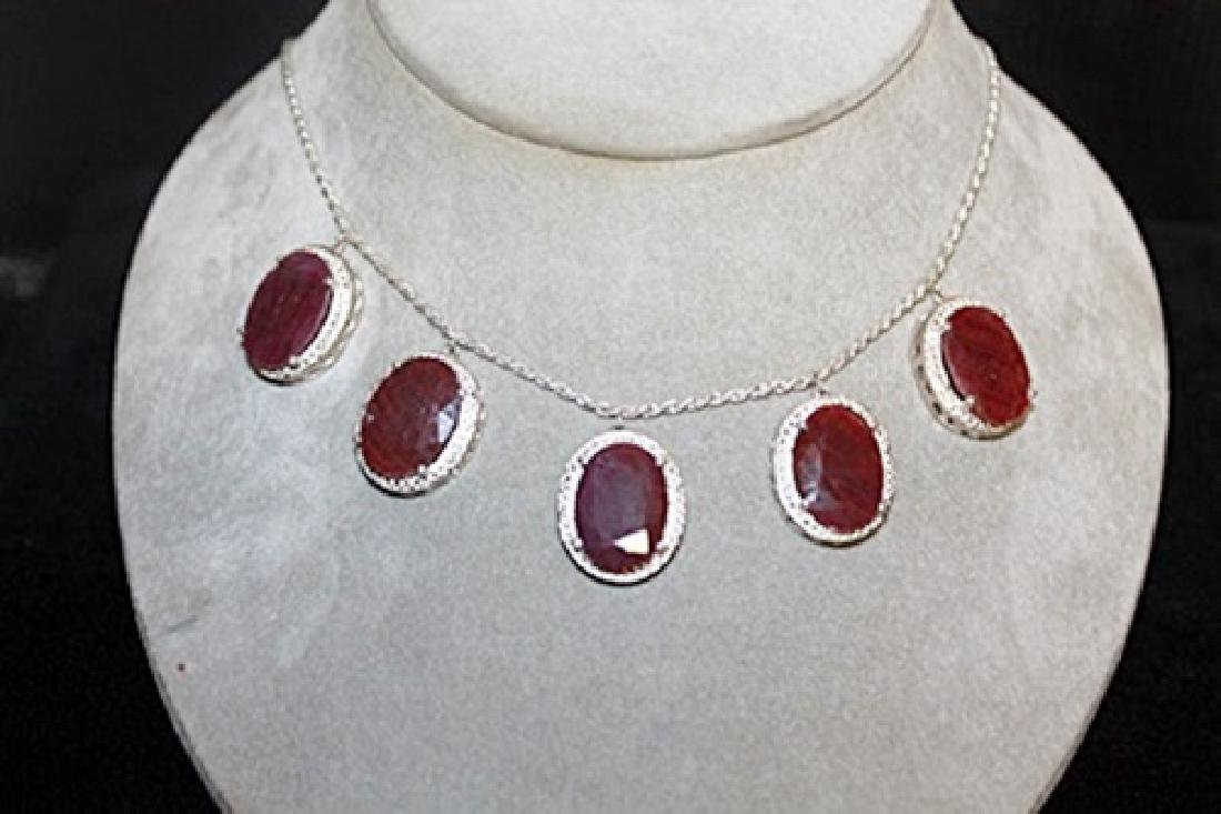 Beautiful Pigeon Blood Rubies Silver Necklace.