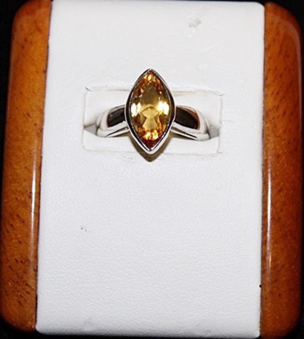 Beautiful Marquise Shape Golden Sapphire Silver Ring.