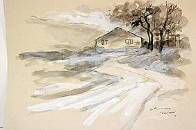 G. Simmons  Original Watercolor on Paper - Early Snow