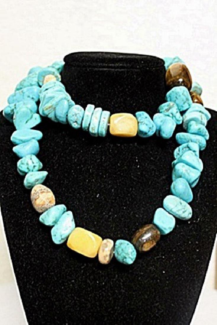 LADIES GORGEOUS NEVADA BLUE TURQUOISE, TIGER EYE AND