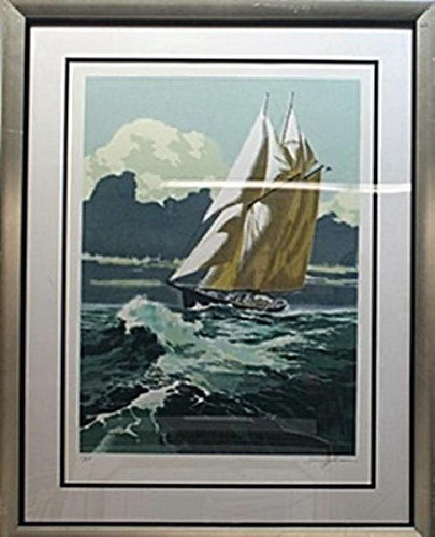 "Serigraph ""Yachting""  Hrry Scharre"