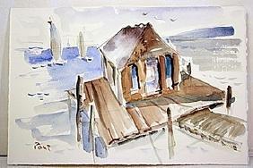 Post  Original Watercolor on Paper - Harbor View