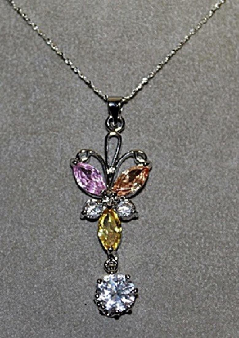 Lady's Golden & White Sapphires Necklace.