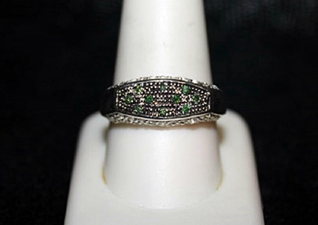 Unisex Fancy Black Diamond & White Sapphire Ring.