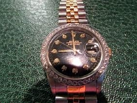 Men Black Date Just 18k Gold Rolex Watch