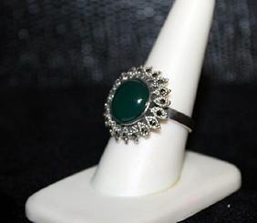 Very Fancy Jade & Black Diamond Ring. (290j)