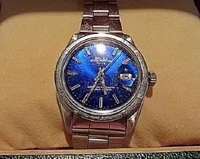 Men Blue Sapphire Date Rolex Watch
