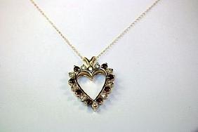 "Fancy 14 kt Yellow Gold ""HEART"" Pigeon Blood Ruby &"