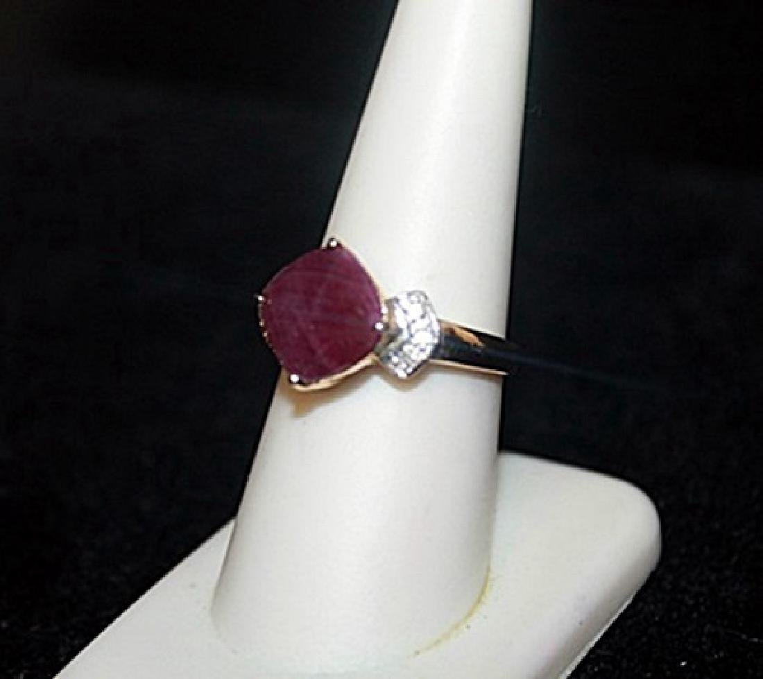 Lady's Fancy Pigeon Blood Ruby with Diamonds Gold Ring. - 2