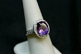 Very Fancy  White Gold over Silver Amethyst & Diamond