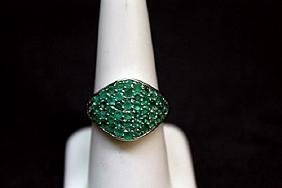 Unisex Columbian Emerald Silver Ring.