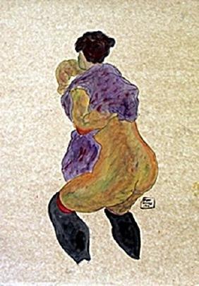 Nude Girl - Watercolor Gouache on Paper - Egon Schiele