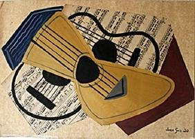 The Guitar II - Mixed Media Oil Painting Collage - Juan
