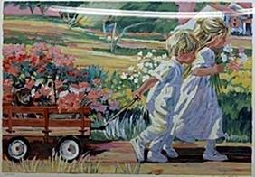 "Serigraph ""Wagon Ride""  Corinne Hartley"