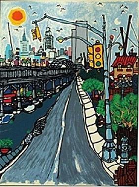 "Lithograph ""West Street""  Edward Sokol"