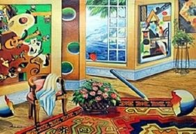 """Serigraph """"Interior With View""""  Astanov"""