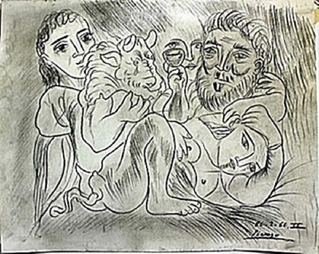 Pen Drawing on Paper by Pablo Picasso