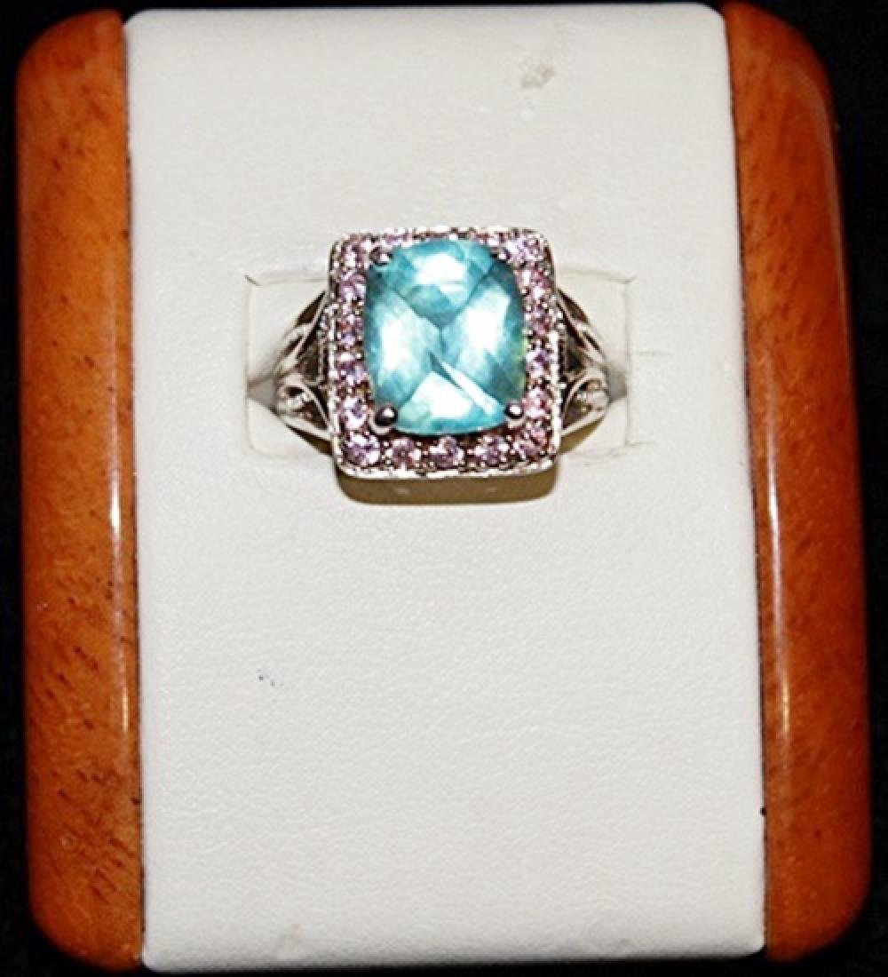 Beautiful Topaz and Pink Sapphire Silver Ring.