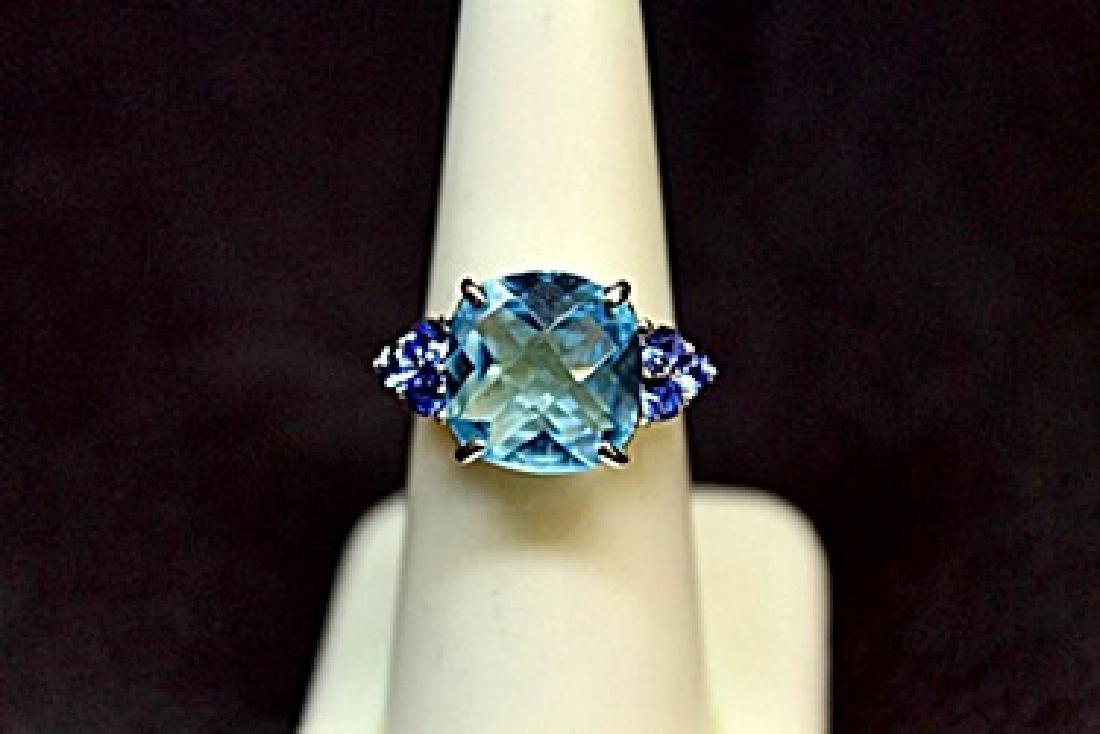 Lady's Fancy Blue Topaz Silver Ring.