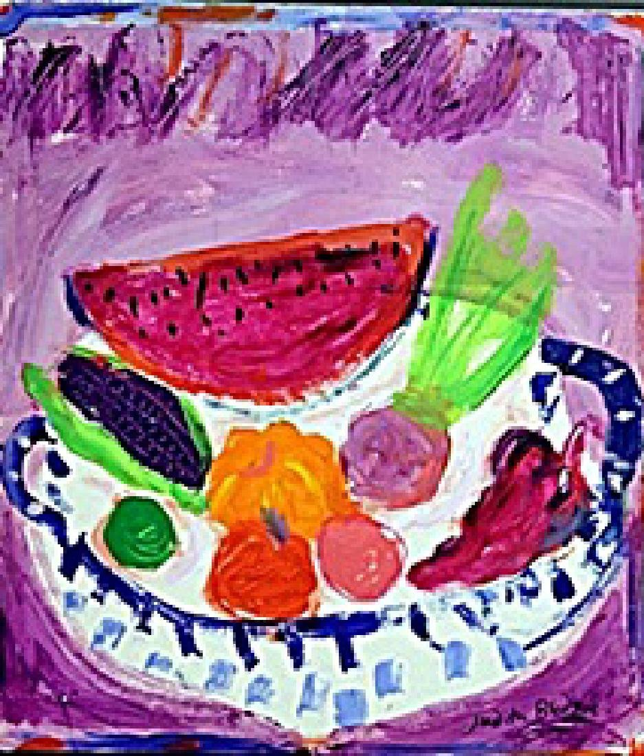 Crazy Vegetables in a Bowl -  Painting by Judith