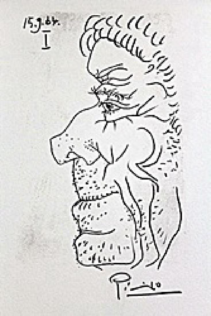 Alter Mann Serigrafie Pochoir 1964 BY Pablo Picasso