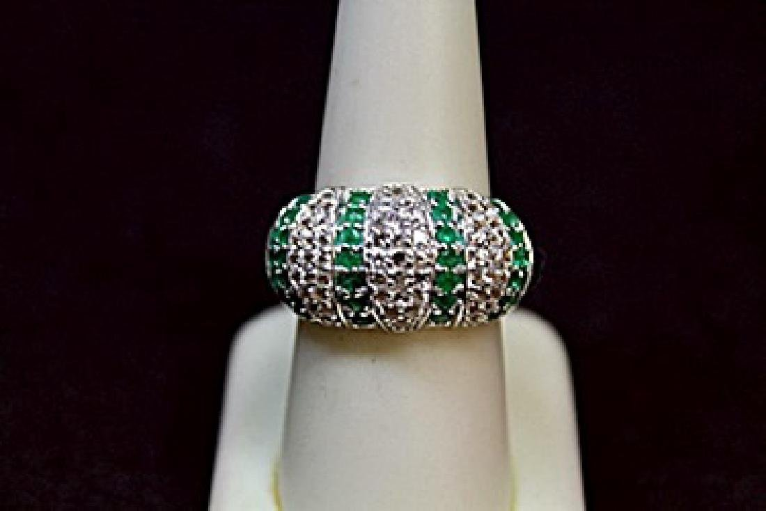 Very Fancy Emerald & White Sapphire Ring (141R)