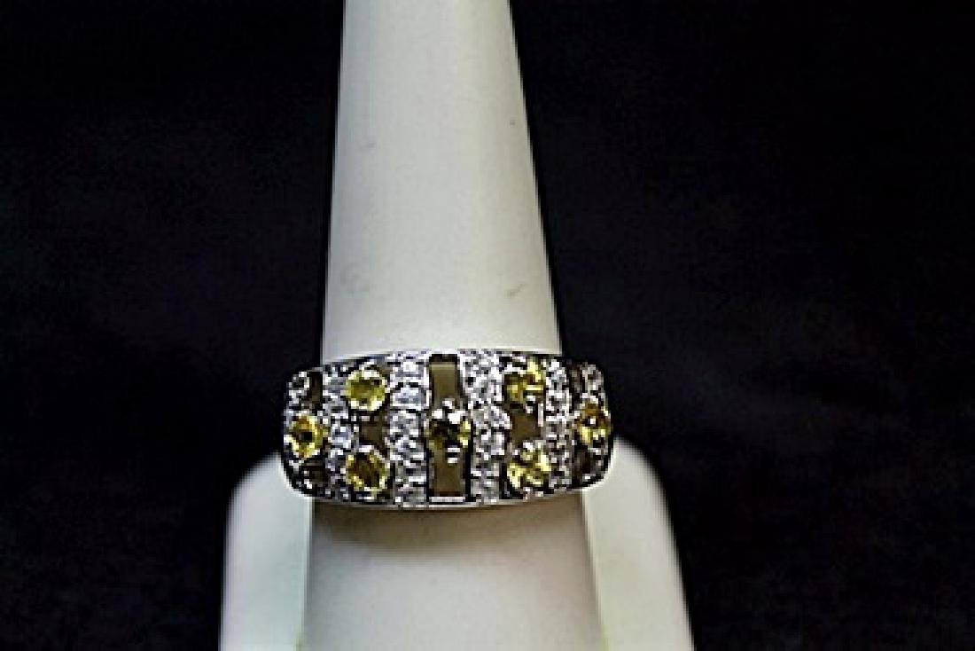 Unisex Fancy Yellow Sapphire & Diamond Ring.