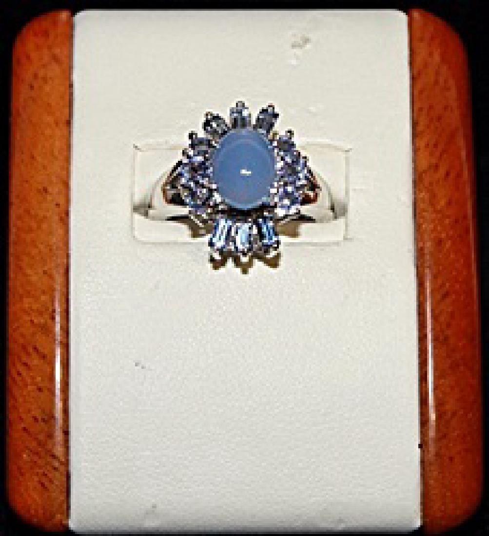 Beautiful Chrome Diopside, Topaz & Diamond Silver Ring.