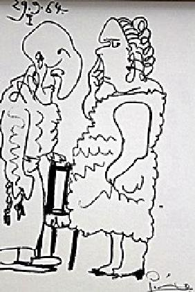 Picasso Couple Rare Pencil By Pablo Picasso