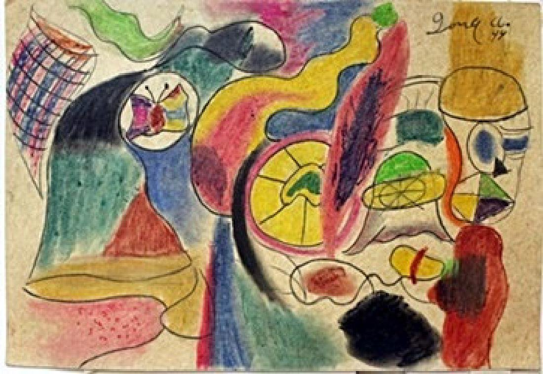 Pastel Painting on Paper by Arshile Gorky