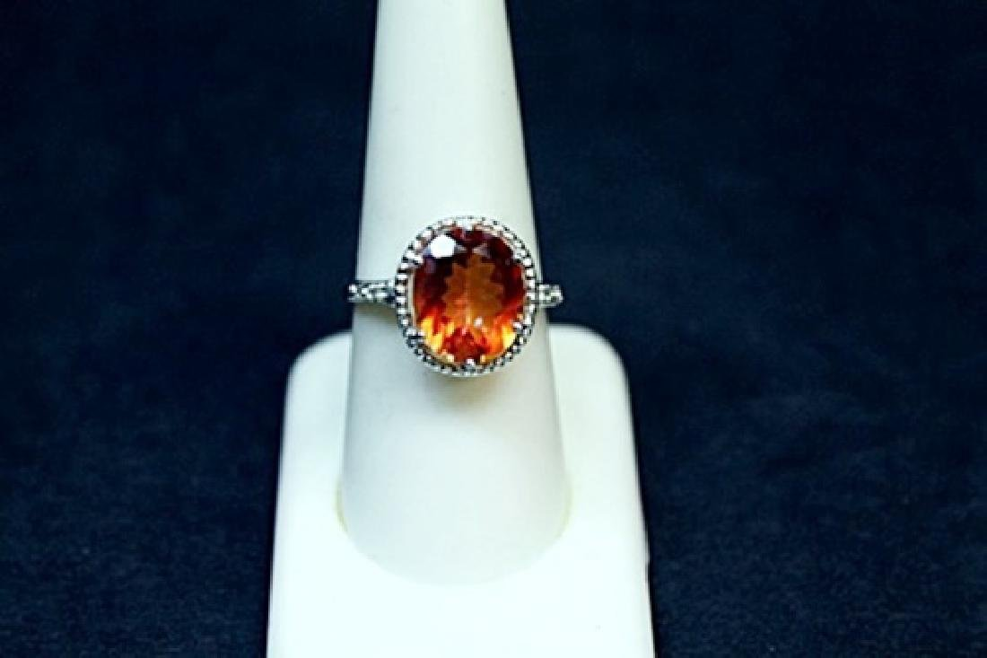 Very Unique White Gold Orange Citrine & Diamond Ring.
