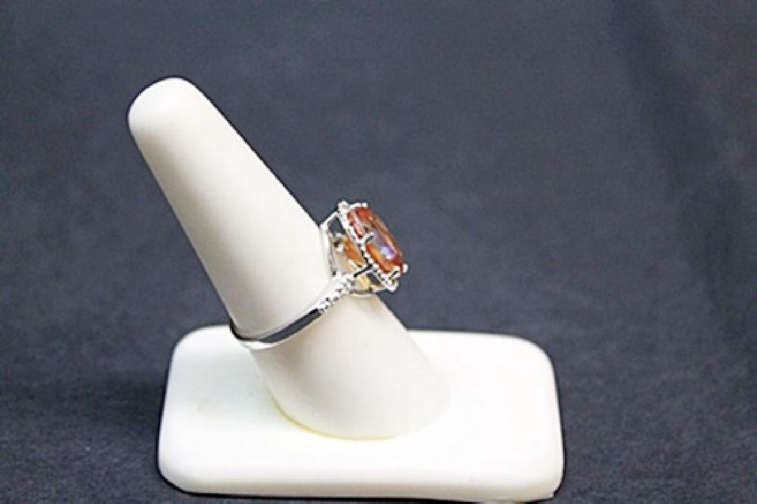 Very Unique White Gold Orange Citrine & Diamond Ring. - 2