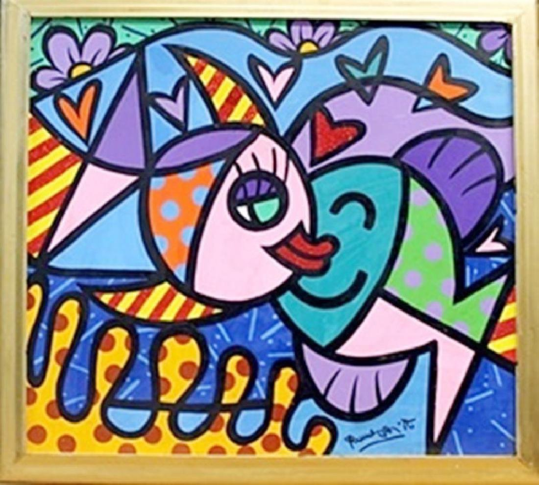 Kiss V - Oil Painting on Canvas by Romero Britto