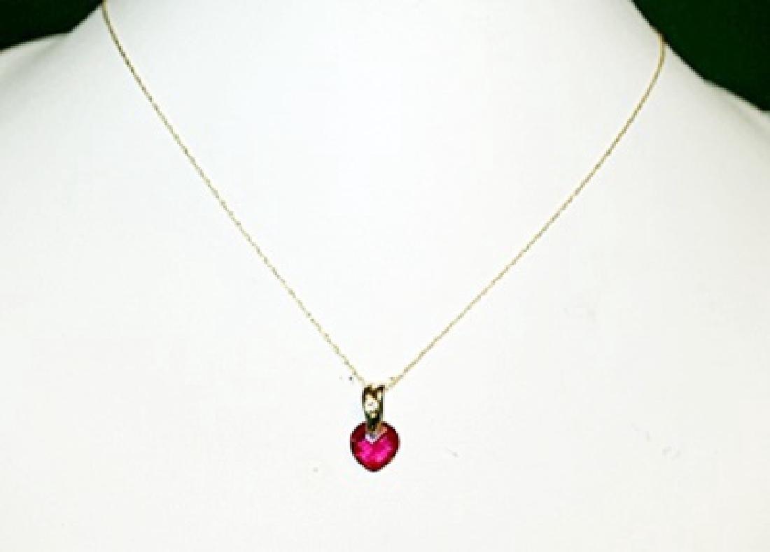 Lady's Fancy Ruby Heart & Diamond Necklace.
