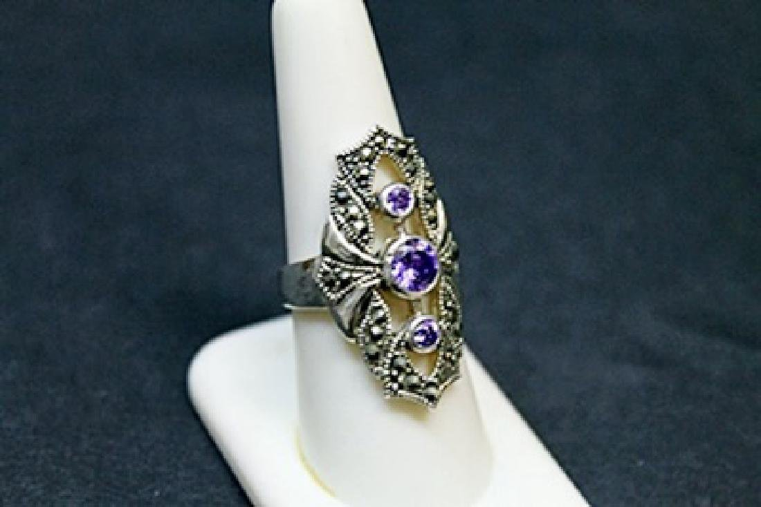 Lady's Beautiful Marcasite Tanzanite Ring (51J)