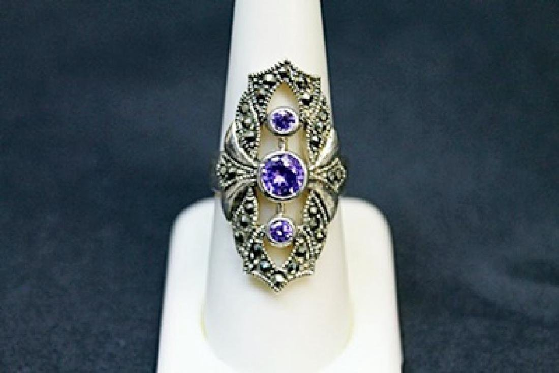 Lady's Beautiful Marcasite Tanzanite Ring (51J) - 2