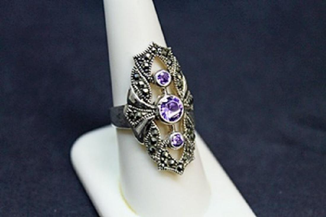 Lady's Beautiful Marcasite Tanzanite Ring (51J) - 3