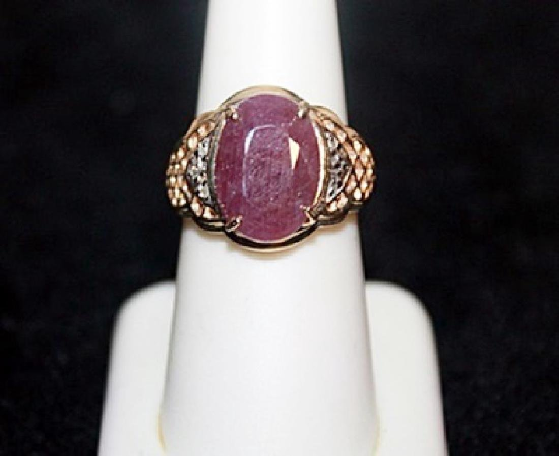 Unisex Ruby with Diamond Chips Gold Ring.