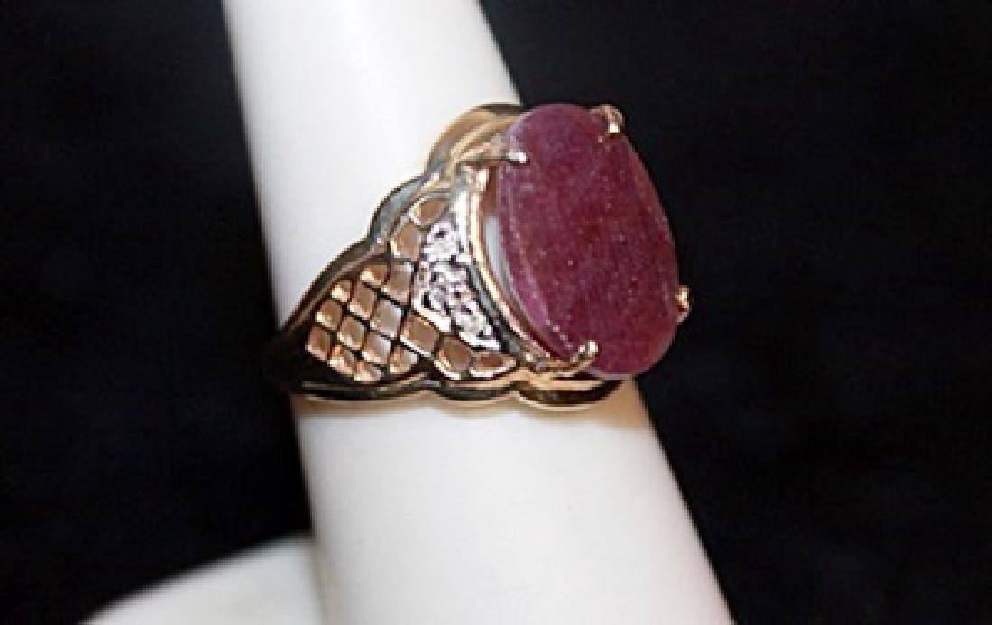 Unisex Ruby with Diamond Chips Gold Ring. - 3