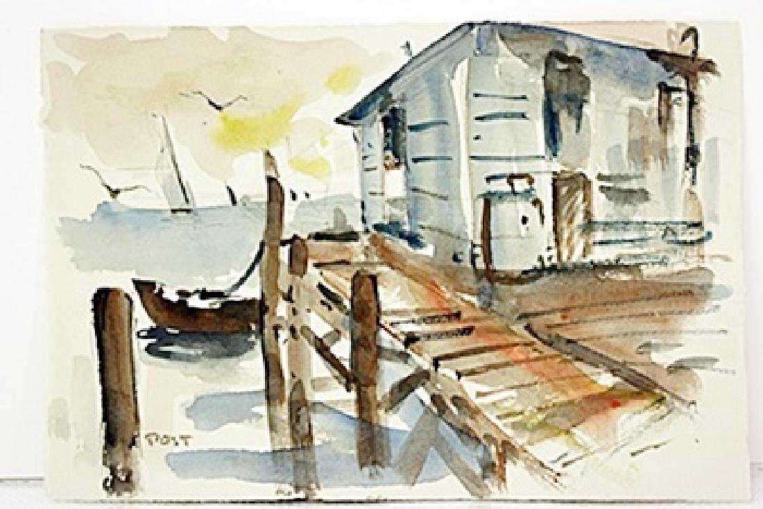 After G. Post  Original Watercolor on Paper - Harbor