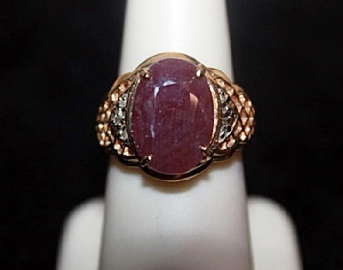 Unisex Ruby with Diamond Chips Gold Ring. - 2