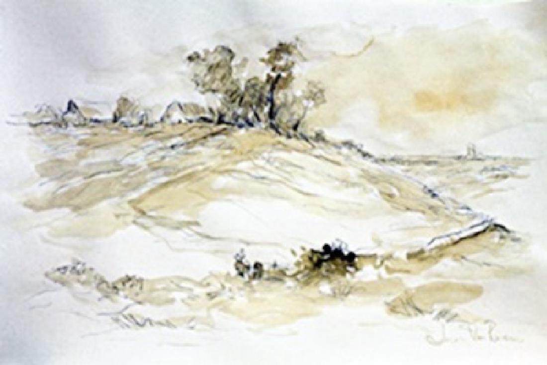 Watercolor Painting on Paper - Jacob Van Ruisdael