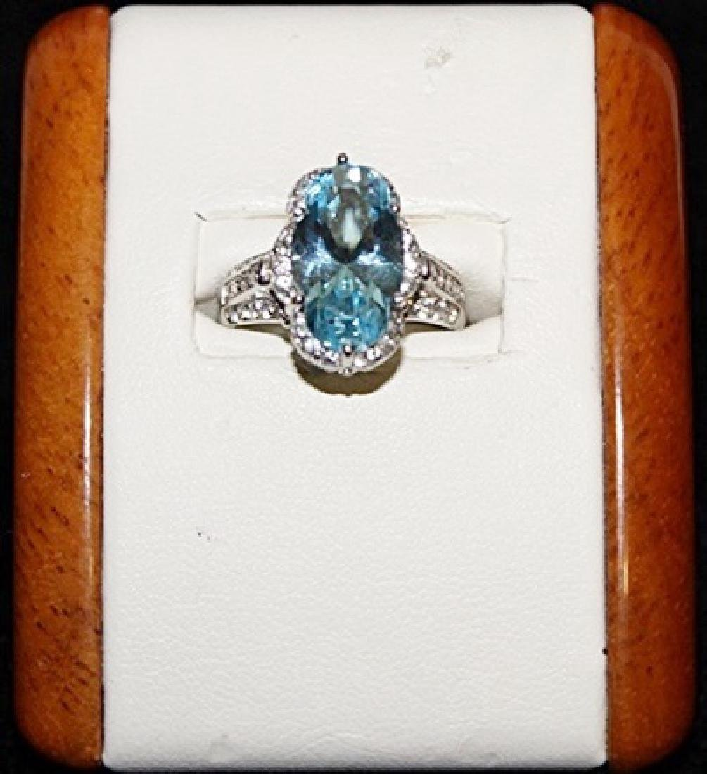 Beautiful Royal Blue Topaz with White Sapphires Silver
