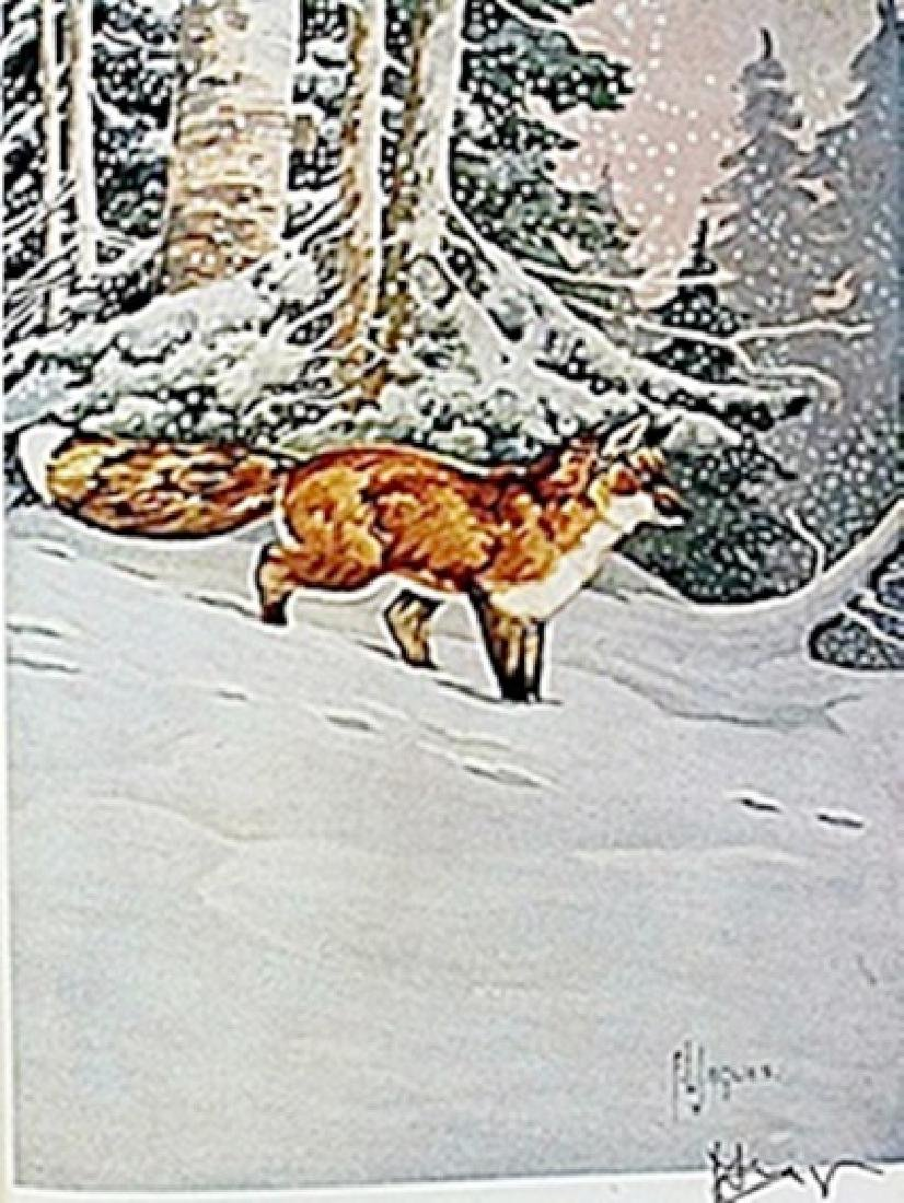"""LITHOGRAPH  """"THE RED FOX""""     ARTIST FRANCIS LEE JAQUES"""