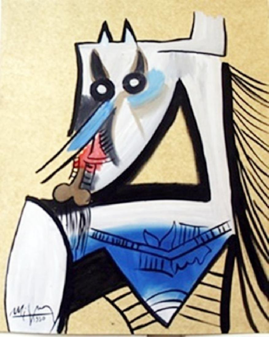 Oil Painting on Paper by Wilfredo Lam