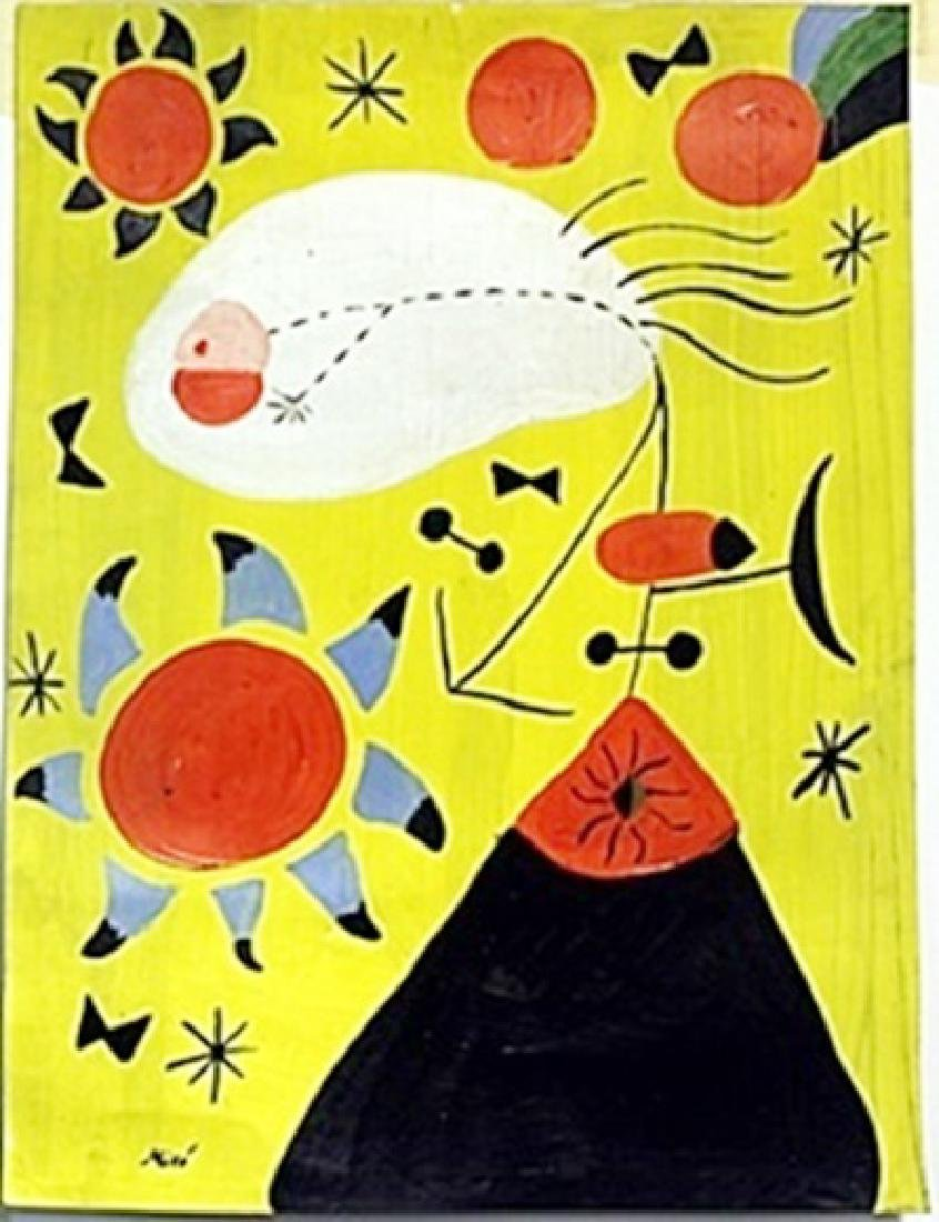 Oil Painting on Paper by Joan Miro