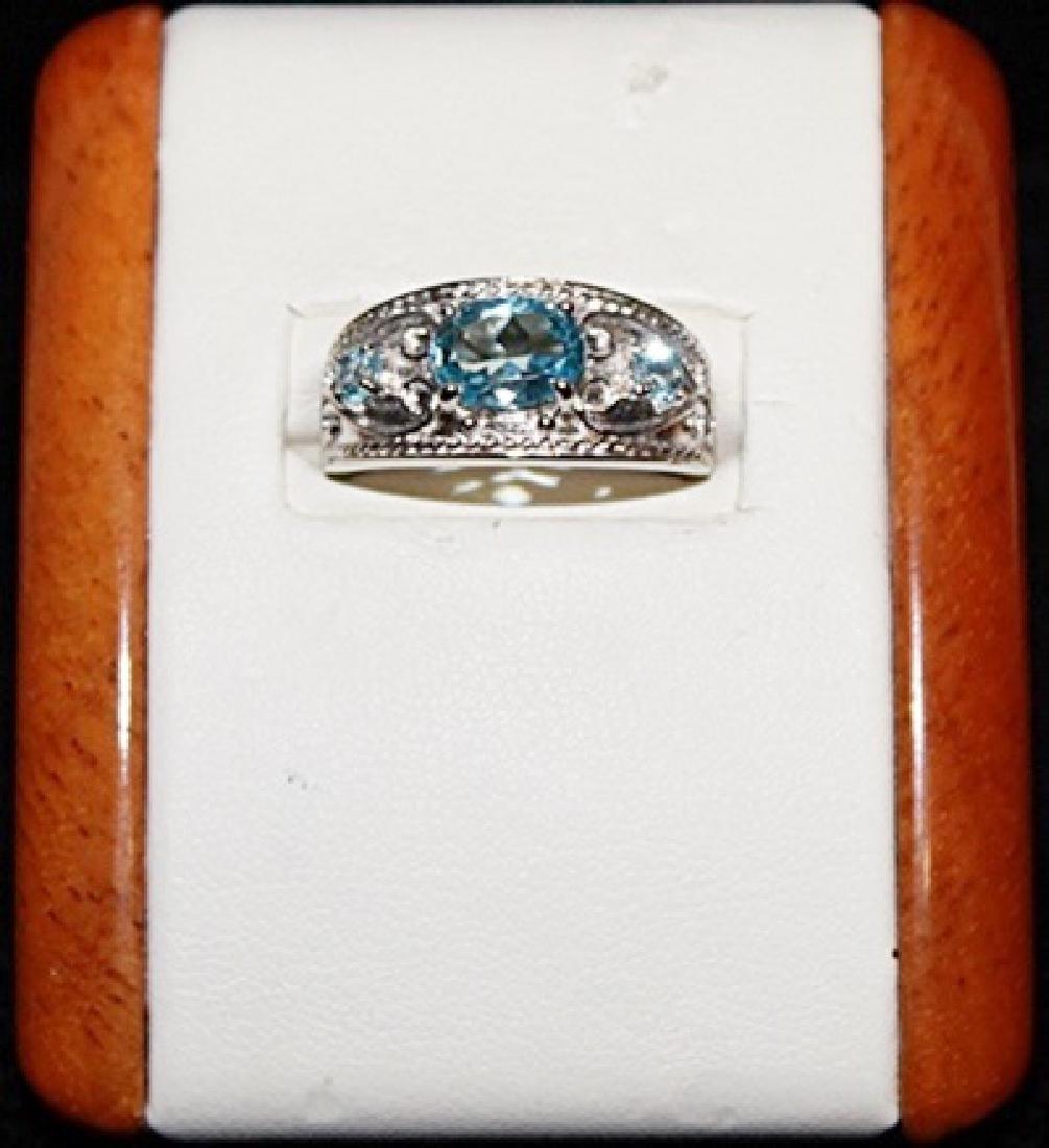 Beautiful Black Sapphire and Tanzanite Silver Ring.