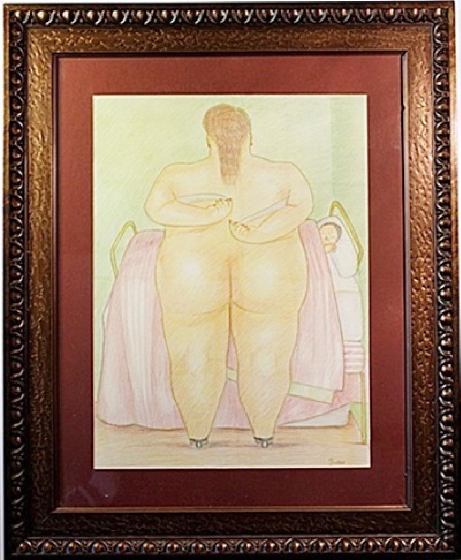 Original Color Pencil on laid paper - signed  Botero