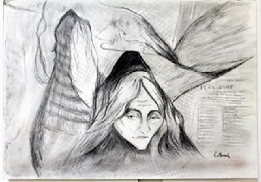 Drawing on Paper by Edvard Munch