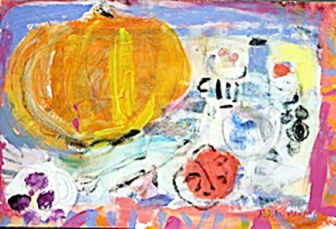 Pumpkin - Hand Signed  Painting by Judith Bledsoe